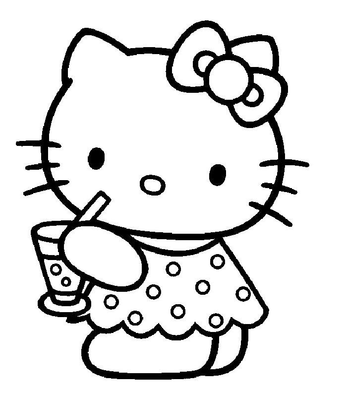 Coloriage hello kitty qui boit une boisson - Coloriage hello kitty printemps ...