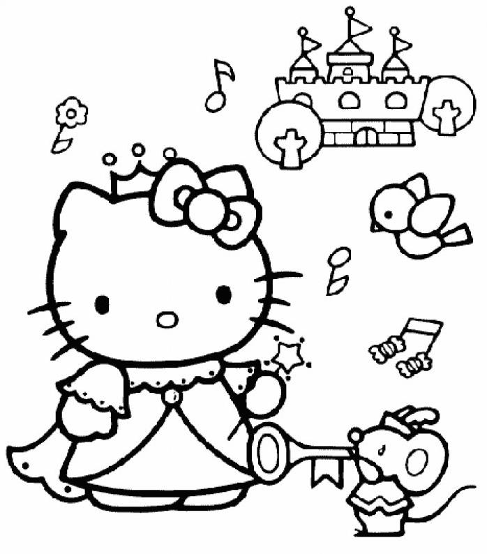 Coloriage Hello Kitty Pres D Un Chateau