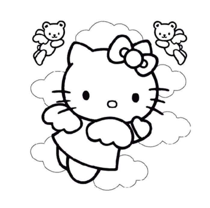 Coloriage hello kitty dans les nuage avec les anges - Coloriage hello kitty fleurs ...