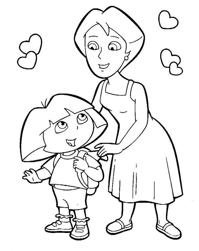 Coloriage Dora Plein De Coeurs