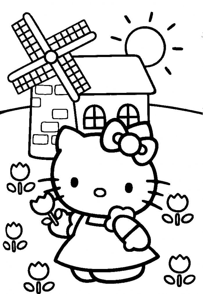 Coloriage Fleur Hello Kitty.Hello Kitty Cueille Des Fleurs Pres Du Moulin