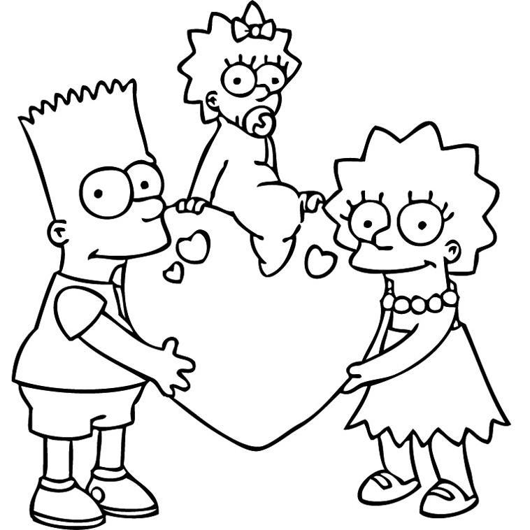 Bart lisa et maggie simpson sur un coeur - Coloriage les simpson ...