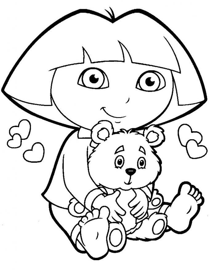 Coloriage Dora Avec Un Nounours