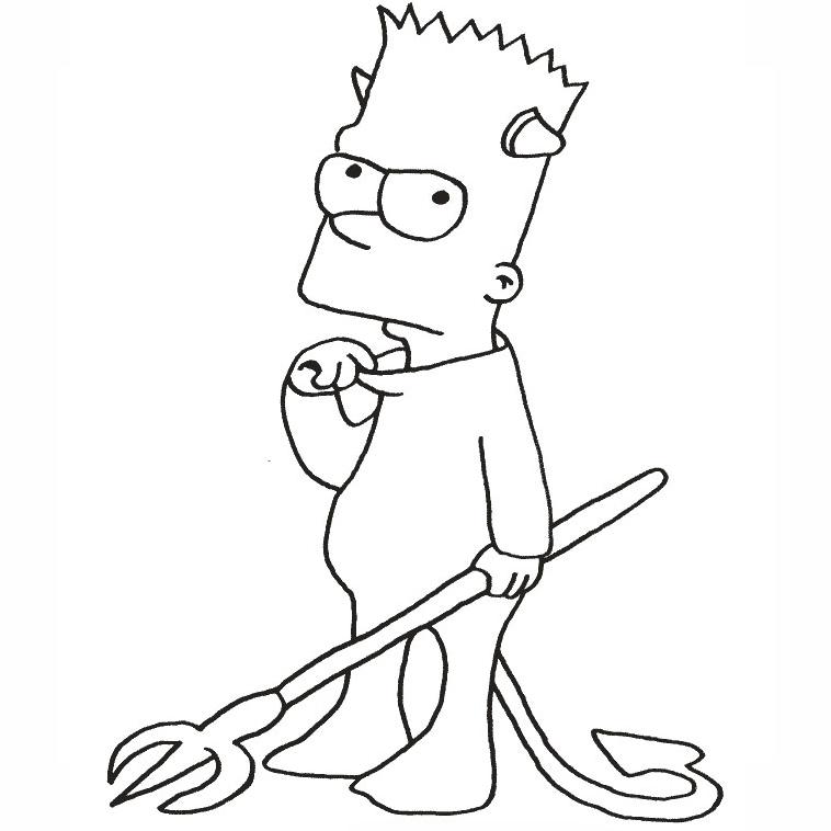 Bart Simpson Deguise En Diable