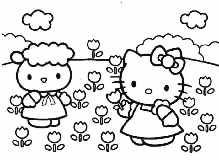 Coloriage Hello Kitty Et Les Fleurs
