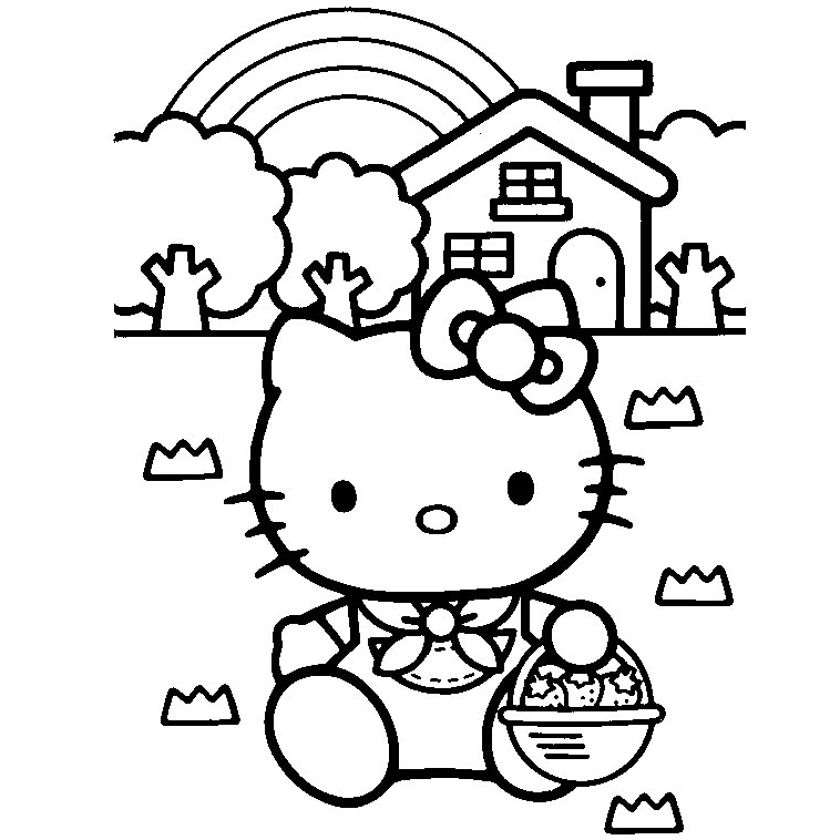 Coloriage Paques Hello Kitty.Hello Kitty Ramasse Des Oeufs De Paques