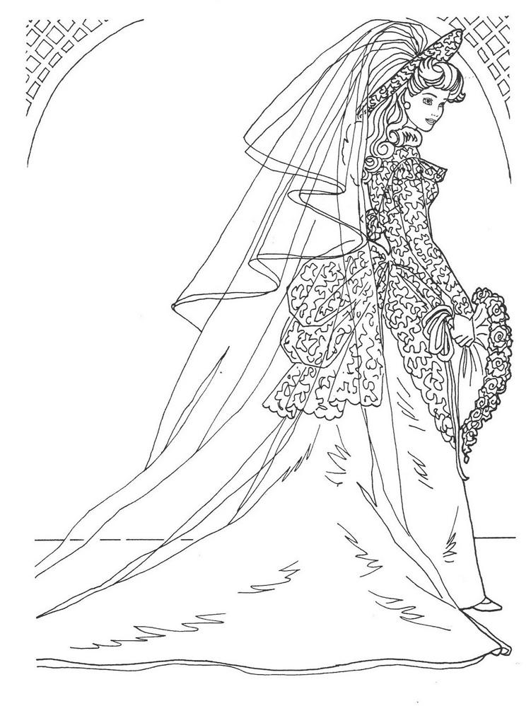 Coloriage Princesse Robe Mariee.Barbie En Robe De Mariee