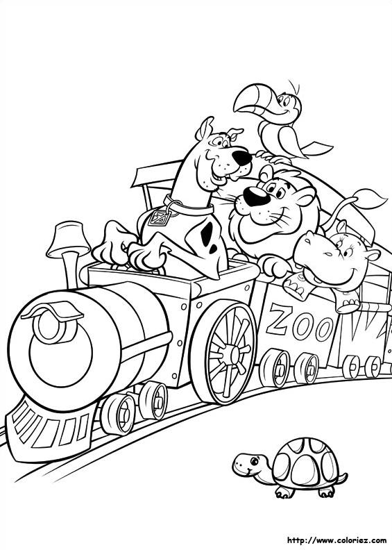 Coloriage De Scoubidou Dans Le Train A Imprimer