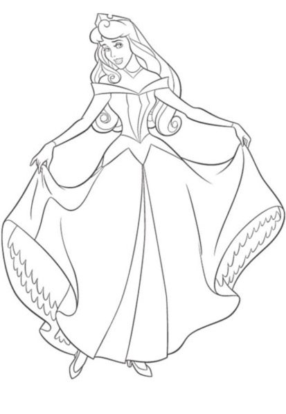 La belle robe de princesse - Coloriage minnie robe ...